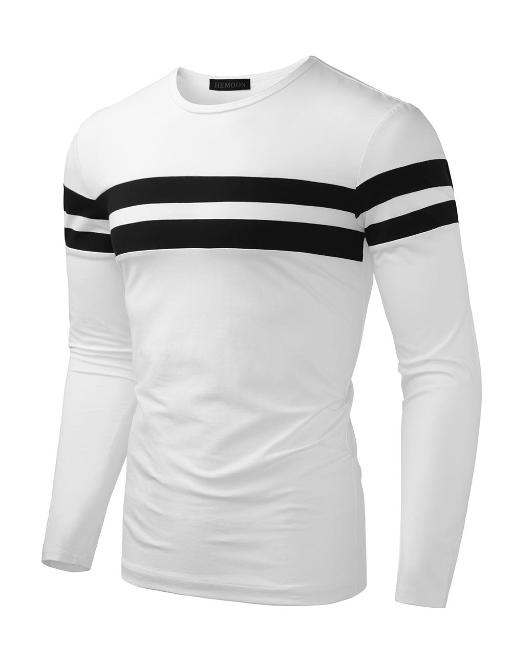 HEMOON Men's Round Neck Color Block Cotton Long Sleeve Polo Stre